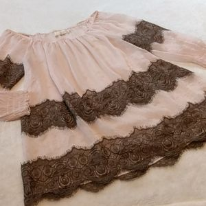 A'reve Pink Blush & Brown Off Shoulder Lace Top